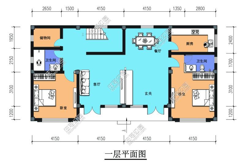 【超低价图纸】兄弟双拼两层乡村自建房大户型图纸设计 - 户型详情