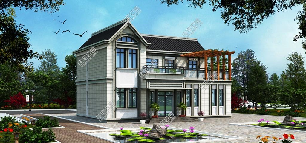 新农村欧式别墅露台凉亭自建房设计图 - 户型详情