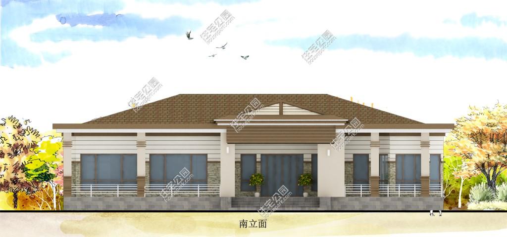 【限时优惠】新农村一层欧式自建房别墅设计图-建房一