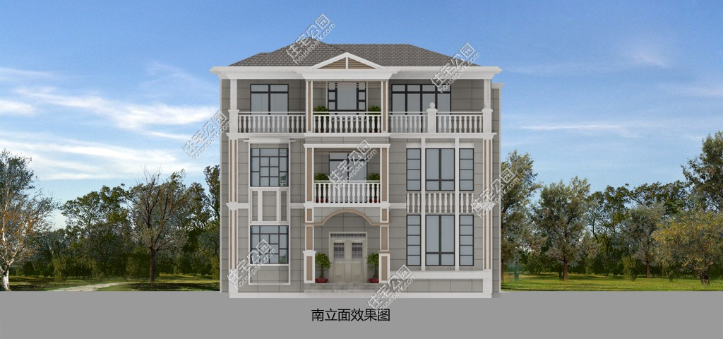 前后庭院欧式罗马柱新农村三层别墅自建房设计图