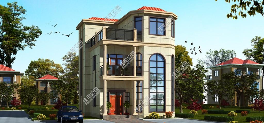 新农村三层欧式别墅弧形落地窗自建房设计图-建房服务