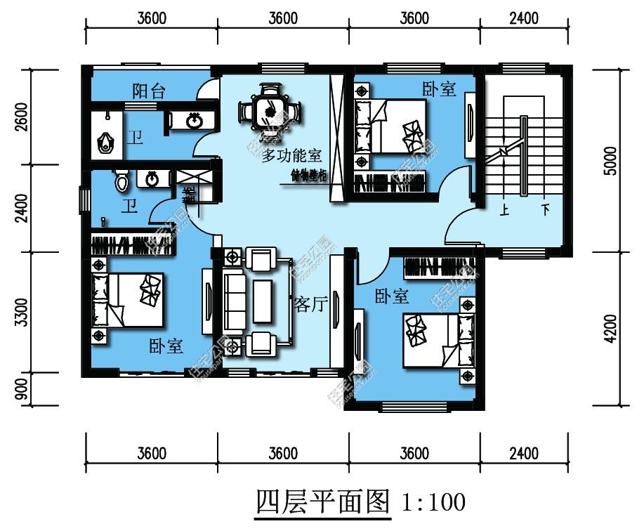 求农村自建房设计图10x8平米,要有门廊,客厅,厨房,楼梯间,卫生间,老人