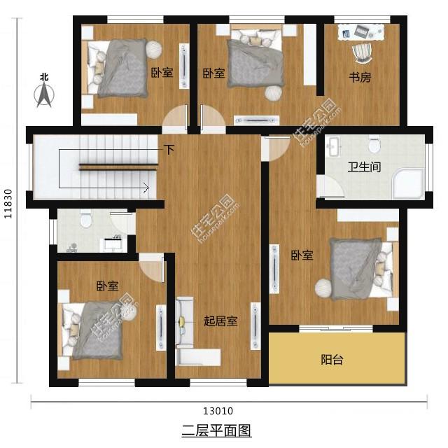 二层现代风格的自建房设计图 - 户型详情